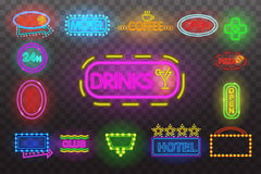 Set of neon sign light at night  transparent background vector illustration, isolated bright glowing electric. Set of neon sign light at night at transparent Royalty Free Stock Images