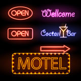 Set of neon sign. Open. Coctail bar. motel royalty free illustration