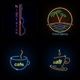 Set neon sign theme summer. bright signboard, light banner. Summer logo, emblem. Set neon sign theme summer. bright signboard, light banner. Summer logo, emblem vector illustration