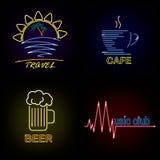 Set neon sign theme summer. bright signboard, light banner. Summer logo, emblem. Set neon sign theme summer. bright signboard, light banner. Summer logo, emblem royalty free illustration