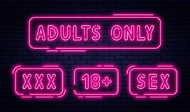 Set of neon signs, adults only, 18 plus, sex and xxx. Restricted content, erotic video concept banner, billboard. Or signboard template in neon light style stock illustration