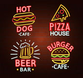 Set of Neon signs. royalty free illustration