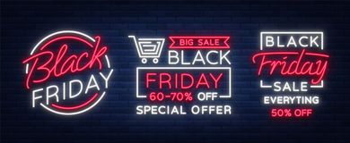 Set of neon signs, posters, brochures on the Black Friday sale.   Stock Images