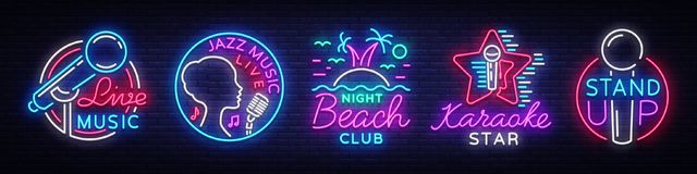Set neon signs symbols. Live Music, Jazz Music, Nightclub Beach, Karaoke, Stand up logos and emblems. Bright Symbols. Light Banner, Night Bright Advertising royalty free illustration
