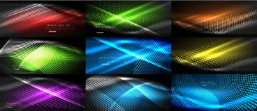 Set of neon smooth wave digital abstract backgrounds. Set of vector neon smooth wave digital abstract backgrounds Royalty Free Stock Photography