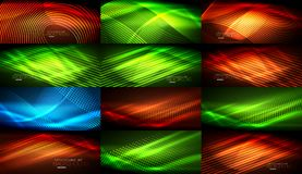 Set of neon smooth wave digital abstract backgrounds. Set of vector neon smooth wave digital abstract backgrounds Stock Photography