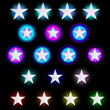 Set of neon stars Royalty Free Stock Images