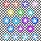 Set of neon stars Stock Images