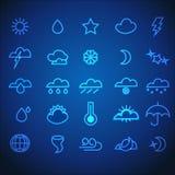 Set of Neon Stroke Weather Icons Stock Photos