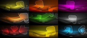 Set of neon techno arrows, digital vector abstract backgrounds. Hi-tech business or technology design template Royalty Free Stock Photo