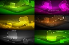 Set of neon techno arrows, digital vector abstract backgrounds. Hi-tech business or technology design template Stock Image
