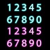 Set neonowe liczby, wektor Zdjęcie Royalty Free