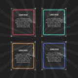 Set neonowe ramy z różnym kolorem Fotografia Royalty Free