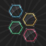 Set neonowe ramy z różnym kolorem Fotografia Stock