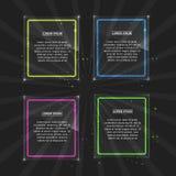 Set neonowe ramy z różnym kolorem Obraz Stock