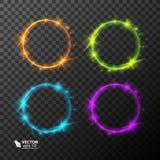 Set neonowi okręgi, różni kolory Zdjęcia Royalty Free