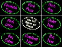 Set neonowi sztandary i guziki Obraz Royalty Free