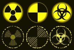 Set neonowy jądrowy zagrożenie, kwarantanna i biohazard symbole, Obraz Royalty Free
