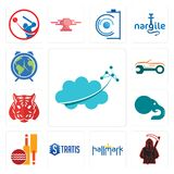 Set of nervous system, grim reaper, hallmark, stratis, cricket club, elephant, tiger, auto body repair, earth hour icons. Set Of 13 simple  icons such as nervous Royalty Free Stock Photo