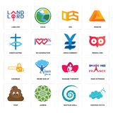 Set of nervous system, nautilus shell, poop, massage therapist, chainsaw, japan currency, christian fish, oes, landlord icons. Set Of 16 simple  icons such as Stock Photography