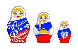 Set of Nesting dolls. Inscription Welcome to Russia, bread and salt, heart. Russian traditional toy. Babushka or matryoshka. Symbol for card and invitation Stock Image