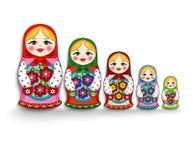 Set of nesting dolls. Nested dolls on a white background Royalty Free Stock Photography