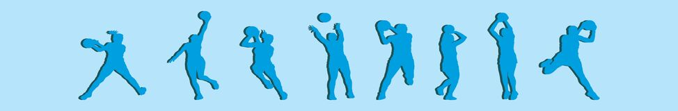 Set of netball cartoon icon design template with various models. vector illustration isolated on blue background