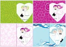 Set nette Hochzeitseinladungen vektor abbildung
