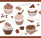 Set nette kleine Kuchen für Auslegung Lizenzfreies Stockbild