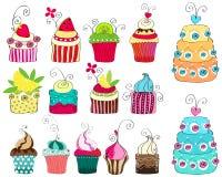 Set nette Retro- kleine Kuchen Stockbilder