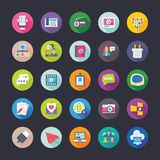 Network and Communications Colored Vector Icons Set. Set of network and communication flat colored icons, ready to use Stock Image