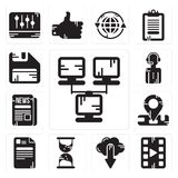 Set of Network, Video player, Cloud computing, Hourglass, File, Location, Newspaper, News reporter, Diskette icons. Set Of 13 simple  icons such as Network Stock Photos