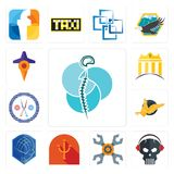 Set of neurosurgery, skull with headphone, appliance repair, psi, atlas, gryphon, unisex salon, banque, travel icons. Set Of 13 simple  icons such as Royalty Free Stock Image
