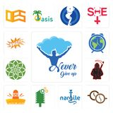 Set of never give up, cofee, nargile, simple tree service, cinco de mayo, grim reaper, jasmine, earth hour, omg icons. Set Of 13 simple editable icons such as Stock Photography