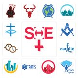 Set of she, never give up, social justice, stratis, construction, nargile, cofee, square and compass, christian fish icons. Set Of 13 simple  icons such as she Royalty Free Stock Images