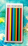Set of new colourful pencils Royalty Free Stock Images