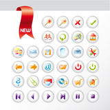 Set of new glossy universal icons Royalty Free Stock Photos
