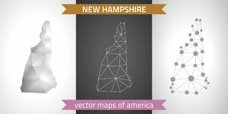 New Hampshire set of grey and silver mosaic 3d polygonal maps. Graphic vector triangle geometry outline shadow perspective maps. Set of New Hampshire polygonal Stock Images