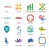 Set of new instagram, constraction, bird, acupressure, , non smoking, fiber optic, continuous improvement, oracle icons. Set Of 16 simple  icons such as new Royalty Free Stock Photo