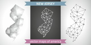 New Jersey collection of vector design modern maps, gray and black and silver dot outline mosaic 3d map. Set of New Jersey polygonal mosaic modern maps Royalty Free Stock Image