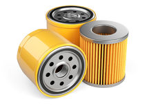 A set of new oil filters. Automobile spare part. 3d illustration isolate on white background Royalty Free Stock Images