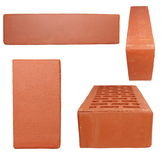 Set new red brick isolated on white Stock Images