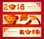 Set of New Year Banners with Funny Monkey. Set of Horizontal Banners with Funny Monkey. Vector Illustration. Symbol of 2016 Chinese New Year. 2016 Numbers with Royalty Free Stock Photo