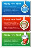 Set of new year banners. Three christmas design templates with sample text and cartoon icons Stock Photography