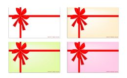 Set of New Year Card with Red Ribbon Stock Images
