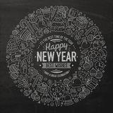 Set of New Year cartoon doodle objects round frame Stock Images