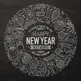 Set of New Year cartoon doodle objects round frame Stock Photos