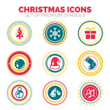 Set of New Year and Christmas celebration holiday round stamps. Vector premium icon collection Royalty Free Stock Photos