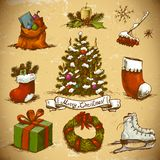 Set of  New Year and Christmas Design Elements Royalty Free Stock Photos