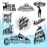 Set of new year and christmas different lettering with deers vector illustration
